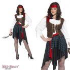 FANCY DRESS COSTUME # ADULT PIRATE WOMAN BUCCANEER WENCH MEDIUM 12 - 14